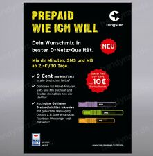 Congstar Prepaid Handy SIM Karte 10 € Guthaben T-Mobile D1 Netz T-Com xtra Card