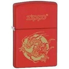 Accendino lighter briquet ZIPPO 28410 DRAGON DRAGONE ROSSO  antivento benzina