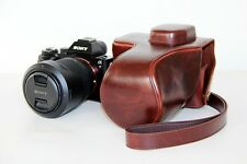 Coffee camera leather case bag  for Sony alpha a7 II or a7R II   w/ 24-70mm lens