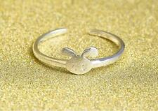 925 Sterling Silver Plated Cute Brushed Rabbit Bunny Head Open Band Ring Gift