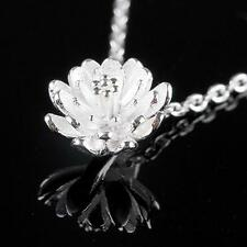 2016 New products Fashion Jewelry fine Lotus Pendant 925 Silver Necklace Female