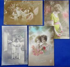 Vintage Girls Photo French Postcards Sent to Japan, Flower Angel Easter greeting