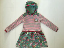 OILILY PINK & GREEN FLORAL, STRIPED & SPOTTED 'SHEEPY' HOODED DRESS – 3YRS