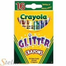 16 Crayola Glitter Wax Colouring Crayons Childrens Art Craft Drawing