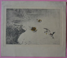Marcel MOISAND carte voeux ancienne Boris ASLAN FINALY chasse épagneul canard