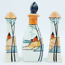 Vintage James Studio Salt and Pepper Shakers Oil Vinegar Bottle Scenic Set Japan