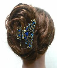 New Blue Crystal high quality Metal Butterfly/flowers Hair Claw Clip Pin 887