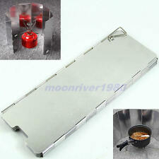New 8 Plates Fold Outdoor Camping Stove Wind Shield Screen BBQ Cookout Windbreak