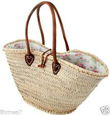 Long Handle Moroccan Blue Floral Lined Beach Shopping Picnic Holiday Basket Bag