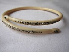 Vintage Deco Cream Celluloid Diamante Snake Bangle Bracelet Armlet 1920/30's