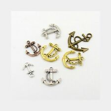 Wholesale Lot 50 Mixed Metal Alloy Gold Silver Copper Nautical Anchor Pendants