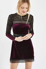 TOPSHOP TALL Burgundy Red Velvet Lace Aline Dress Size 14 NEW