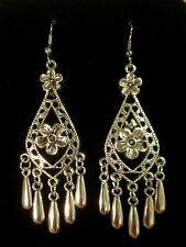 Earrings Long Big Silver Hippie Bohemian Ethnic Boho Belly Dance Tribal Gypsy