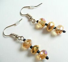 ACCESSORIZE DROP EARRINGS_TOP QUALITY HIGHLY FACETED CLEAR & MIRROR AMBER BEADS