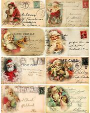 Christmas vintage Santa pictures on cards scrap booking crafts set  8