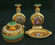 Lovely 4pc 1930's Le Mieux China Hand Painted Perfume Bottle Dresser Set GOLD