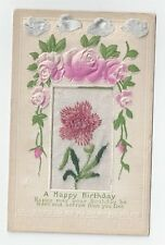 Antique db Embroidered Silk Post Card Birthday Pink Clover & Pale Blue Ribbon