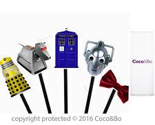 Coco&Bo 10 x Dr Who Cupcake Picks Tardis Dalek Cyberman K9 Bow Tie Party Theme