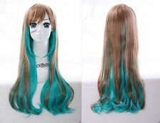 W-22 grün braun green brown mix 70cm Harajuku Lolita Locken COSPLAY Perücke WIG