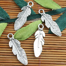 Alloy metal Tibetan Silver color feather style charms 20pcs EF0107