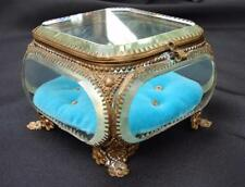 VINTAGE ORMOLU BEVELED GLASS JEWELRY TRINKET BOX CASKET