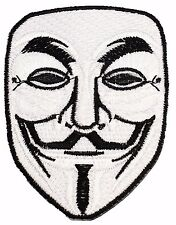White Mask V For Vendetta Anonymous Freedom Forever Logo Iron On Patches P62