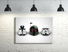 Star Wars Boba Fett, Stormtrooper Helmet framed Canvas Wall Art