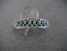 Auth. Native American IndianTurquoise/Sterling Row Baby Bracelet by Elton Cadman