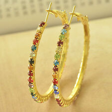 Bright New 9K Yellow Gold Filled Multicolor Crystal CZ Large Round Hoop Earrings