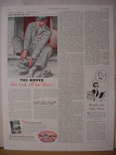 1955 North American Van Lines Moving Mover took Shoes Off Vintage Print Ad 10680