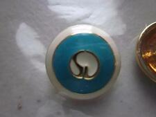 ST. JOHN ~ REPLACEMENT ~ LOGO BUTTON ~ BLUE WHITE ENAMEL AND GOLD