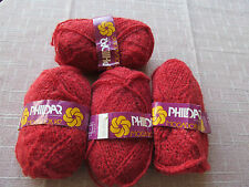 4 SKEINS OF PHILDAR MOGADOR 147 YARN ACRYLIC/WOOL/MOHAIR 1.75 OZ EA.  DARK RED