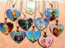 30pcs kids girls frozen mix anna elsa heart stainless steel necklace pendants