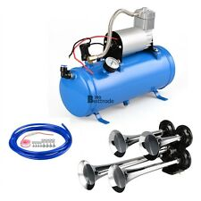 4 Trumper air horn 12V Compressor kit and blue tank gauge for car train truck