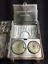 Antique German Silver Coin Holder Compact Mini Purse Standard Mail Order Co. NY