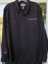 Harley-Davidson Motor Cycles Long Sleeve Black Embroidered Casual Shirt Medium