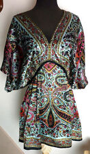 ULTRA PINK Paisley & Floral V-Neck Tunic Top Blouse Plus Size 1X
