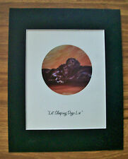 Print Black Lab Pups Tara Moore Let Sleeping Dogs Lie Bookplate 1982 11x14 Mat