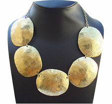 ELEGANT FASHION Oro Placcato finitura MARTELLO Collana Orecchino per Donne gioielli
