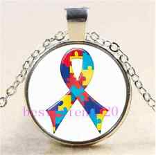 Autism Awareness Ribbon Cabochon Glass Tibet Silver Chain Pendant Necklace