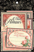 Graphic45 MON AMOUR (32) Ephemera & Journal Cards scrapbooking VINTAGE ROMANCE
