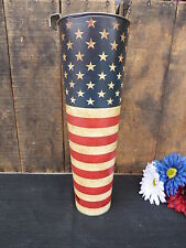 AMERICAN FLAG Metal Wall Pocket Americana Long Flower Pot Tall CANISTER VASE