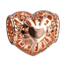 hot rose gold hollow love big hole spacer beads fit Charm European Bracelet A