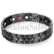 Men's Black Stainless Steel Watch Strap Ceramic Magnet Health Bracelet Chain