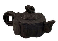 Rare Signed Museum Quality 19thC Chinese Yixing Teapot in Coin Pattern w/ Animal