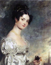 Victorian Era Young Woman in Beautiful Dress Painting Real Canvas Art Print