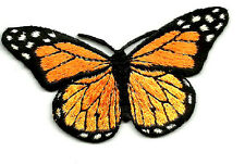 BUTTERFLY BLACK/ORANGE EMBROIDERED IRON ON APPLIQUE PATCH
