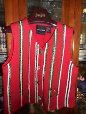 """Michael Simon NY FAB  Christmas Sweater Vest Red Green White ribbon M 40"""" ch"""