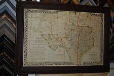 Title:1876 TEXAS CATTLE TRAILS MAP  FRAMED