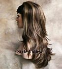 IT'S BACK! Brown Mix Wavy 3/4 Fall Hair Piece Long layered Half wig Hairpiece